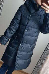 Puchowy płaszcz zimowy Zara granatowa kurtka rozmiar XS