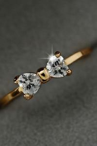 Nowy pierścionek złoty kolor kokardka kokarda cyrkonie celebryt...