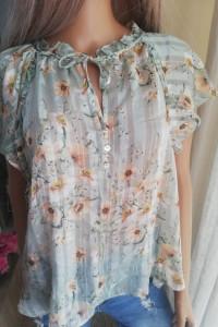 Bluzka mgiełka h&m pistacjowa miętowa 40 L w kwiaty...
