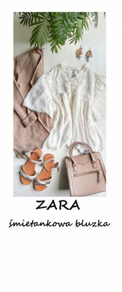 Bluzki Kremowa ecru zwiewna bluzeczka Zara S M