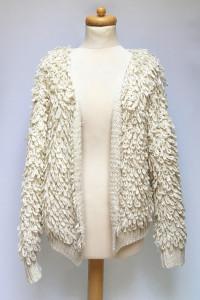 Sweter Beżowy NLY Icons S 36 Beż Narzutka Frędzle Włochaty Akry...