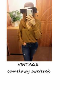 Nowy sweterek vintage na guziki camel oversize krótki kardigan...