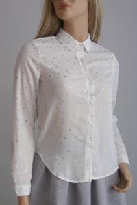 bluzka koszula ecru S gwiazdki złote zdobienia nowa