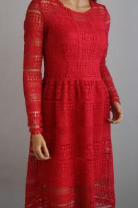 sukienka czerwona haft koronka święta wesele 36 S Top Secret