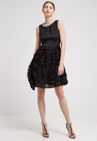 Suknie i sukienki Elegancka sukienka czarna kwiaty 3Dcyrkonie studniówka L XL