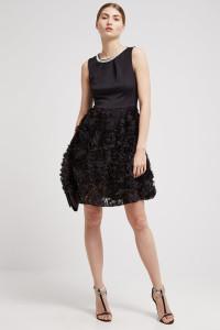 Elegancka sukienka czarna kwiaty 3Dcyrkonie studniówka L XL...