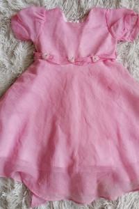 Elegancka sukienka różowa z różyczkami stan Nowa roz 92