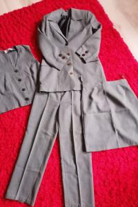 Komplet damski marynarka spodnie spódnica szara M do pracy...