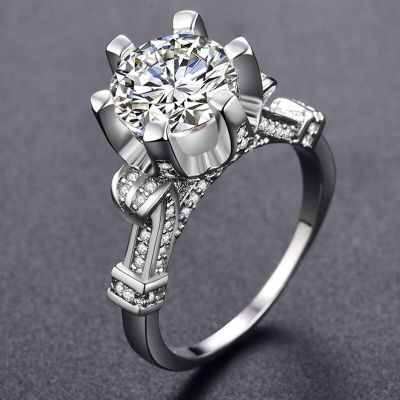 Pierścionki Nowy pierścionek srebrny kolor posrebrzany wielka cyrkonia ozdoba królewski