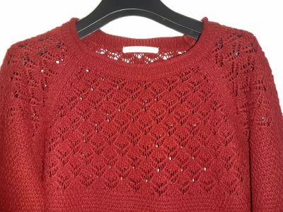 Swetry Bordowy sweter z ażurową górną częścią Xside