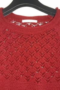 Bordowy sweter z ażurową górną częścią Xside...