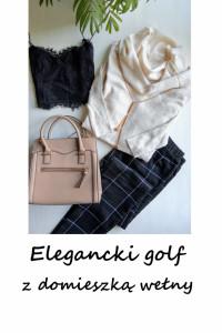 Kremowy sweter z lużnym golfem basic minimalizm bawełna wełna M L