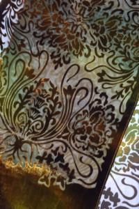 Chusta SZAL welurowa ornament Jedwab 160x35cm