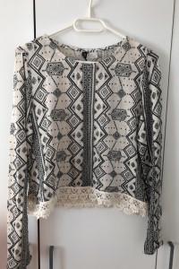 Bluzka sweter z długim rękawem azteckie wzory koronka H&M Divided S