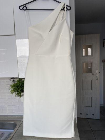 Suknie i sukienki River Island nowa sukienka biała piankowa asymetryczna midi wesele