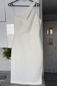 River Island nowa sukienka biała piankowa asymetryczna midi wes...