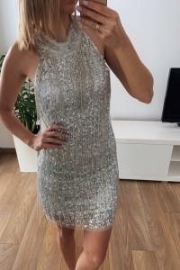Cekinowa elegancka sukienka 38