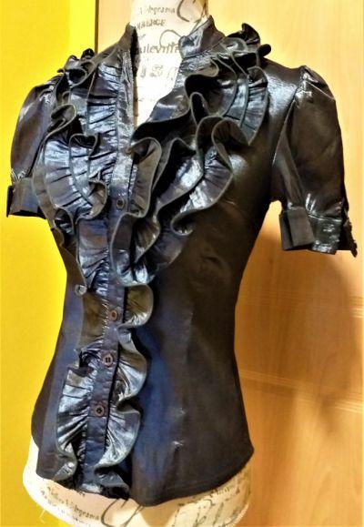 Bluzki Srebrzysto czarna elegancka bluzka wyjściowa Nasello r 36