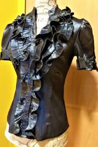 Srebrzysto czarna elegancka bluzka wyjściowa Nasello r 36