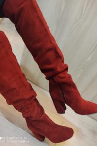 Czerwone zamszowe muszkieterki Prima Moda...