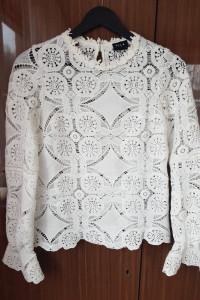 Biała bluzka ażurowa vila koronkowa hafty długi rękaw XS
