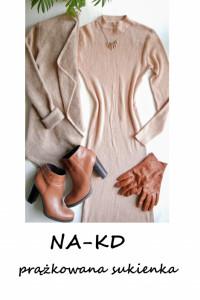 Beżowa prążkowana sukienka NAKD dzianinowa basic minimalizm XS S