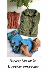 Nowa sztruksowa koszula vintage katana kurtka XS S khaki oversize