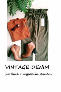 Nowe spodnie wysoki stan z paskiem z wiązaniem XS S vintage denim khaki