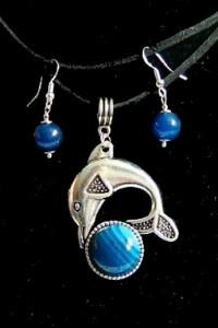 Delfin z niebieskim agatem wisiorek kolczyki komplet...