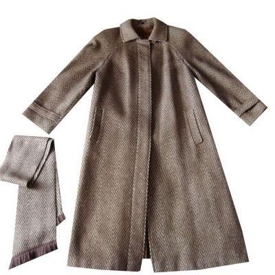 Odzież wierzchnia Klasyczny Brązowy Beżowy Płaszcz Wełniany 44 46