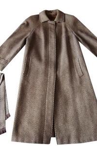 Klasyczny Brązowy Beżowy Płaszcz Wełniany 44 46