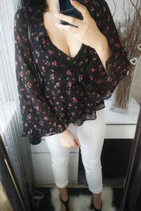 H&M Koszula damska szyfonowa kwiaty czarna XS...