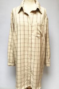 Sukienka Koszulowa Kratka Oversize Prettylittlething S 36 Beż...