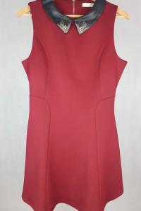 Bordowa burgrundowa sukienka z kołnierzykiem M L