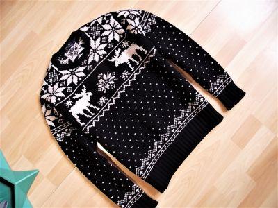 Swetry Ralph Lauren ciepły gruby sweter wzór norweski M