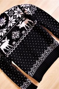 Ralph Lauren ciepły gruby sweter wzór norweski M...