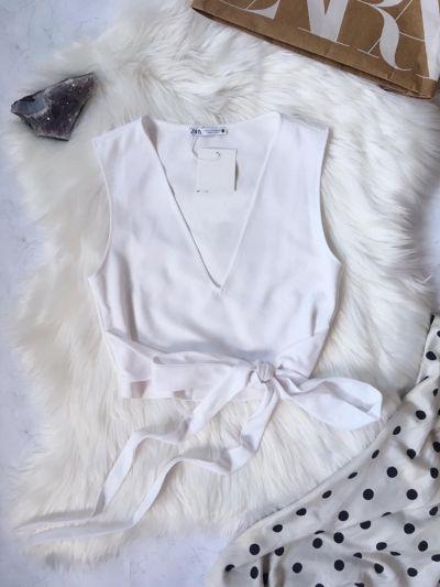 Top Crop top bluzka Zara S 36 biała z wiązaniem