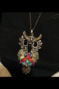 Naszyjnik Sowa kolorowy piękny kryształy...