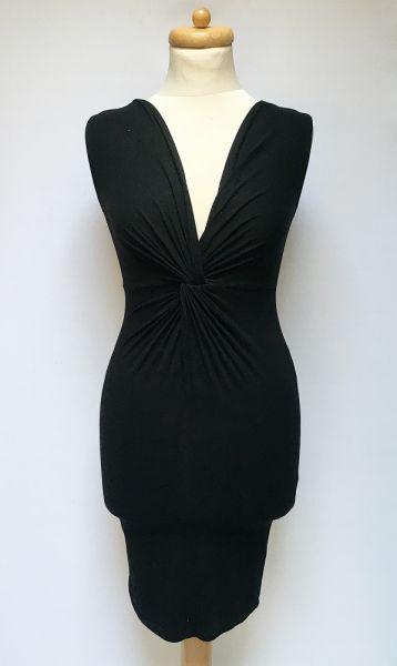 Suknie i sukienki Sukienka NOWA Czarna Asos Ołówkowa Marszczona S 36 Dekolt V