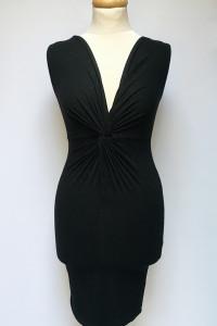 Sukienka NOWA Czarna Asos Ołówkowa Marszczona S 36 Dekolt V...
