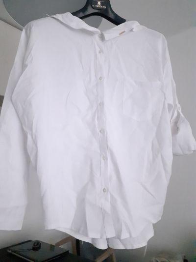 Bluzki Biała bluzka koszula polska marka Minouu oversize wiązanie na plecach L XL kimono