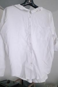 Biała bluzka koszula polska marka Minouu oversize wiązanie na p...