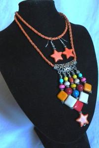 Kolorowy wisior z kamieniami i kolczyki oryginalny zestaw...