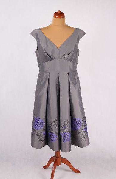 Suknie i sukienki SREBRNA SUKIENKA Z KWIATAMI KONTRAFAŁDY ALA CHI CHI LONDON 46 48