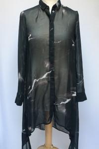 Koszula Marmurkowa Asymetryczna H&M Mgiełka XS 34 Dłuższy Tył...