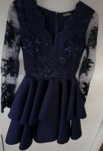 Suknie i sukienki Sukienka granatowa rozkloszowana piankowa XS