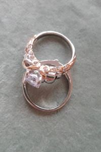 Nowe pierścionki komplet obrączka czaszka cyrkonie srebrny kolo...