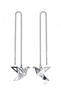 Nowe srebrne kolczyki srebro 925 wiszące ptaki jaskółki origami...