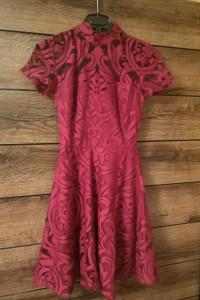 Burgundowa koronkowa sukienka Lipsy XS 34
