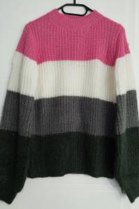 Sweter z dzianiny z bufiastymi rękawami wielokolorowy S...